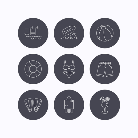 swimming shorts: Surfboard, swimming pool and trunks icons. Beach ball, lingerie and shorts linear signs. Lifebuoy, cocktail and changing cabin icons. Flat icons in circle buttons on white background. Vector