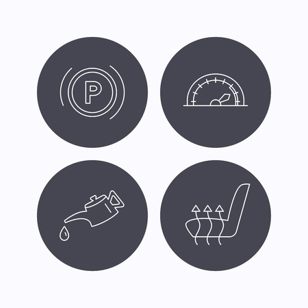 heated: Motor oil, parking and speedometer icons. Heated seats linear sign. Flat icons in circle buttons on white background. Vector