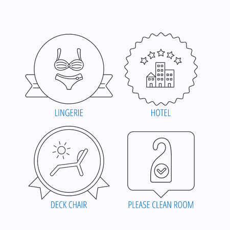 5 door: Hotel, lingerie and beach deck chair icons. Clean room linear sign. Award medal, star label and speech bubble designs. Vector