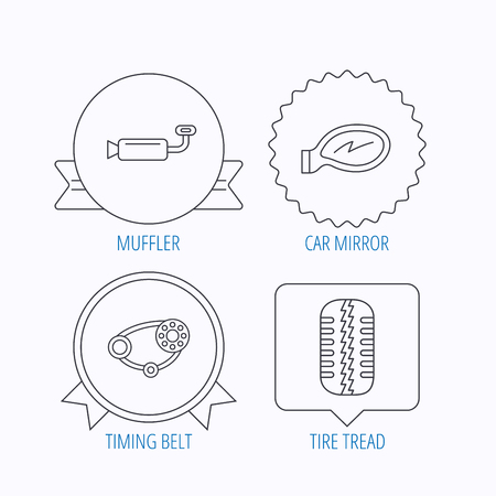 car tire: Tire tread, car mirror and timing belt icons. Muffler linear sign. Award medal, star label and speech bubble designs. Vector