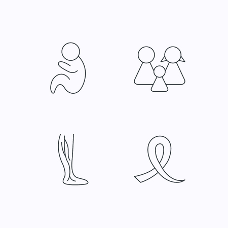 pediatrics: Family, pediatrics and phlebology icons. Oncology awareness ribbon linear sign. Flat linear icons on white background. Vector Illustration