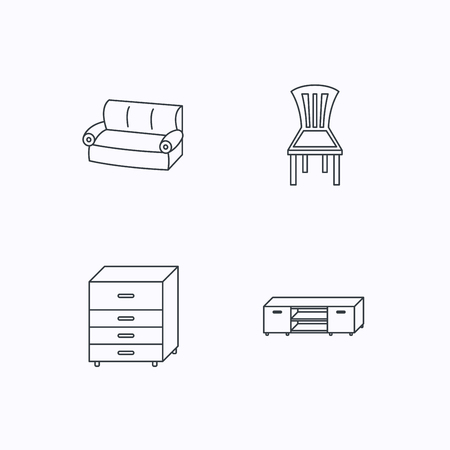 chest of drawers: Sofa, chair and chest of drawers icons. TV table linear sign. Flat linear icons on white background. Vector Illustration