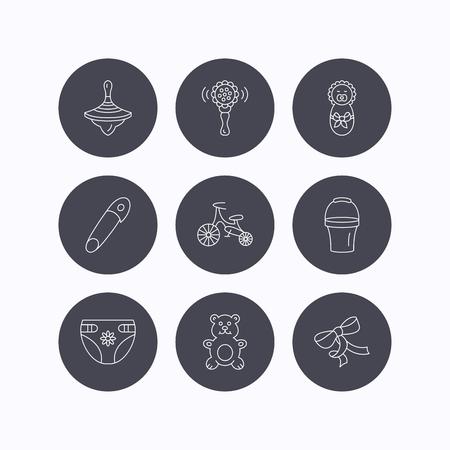 perinola: Reci�n nacido, pa�ales y juguetes de peluche iconos. Primera moto, y bul�n de signos lineales. Rattle, perinola e iconos de l�neas de cubo plana. iconos planos de botones de c�rculo sobre fondo blanco. Vector