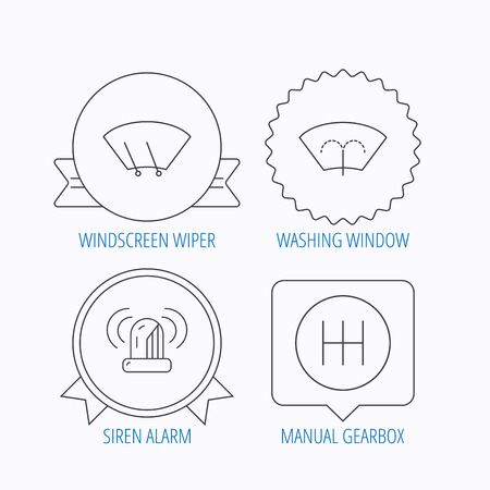 wiper: Manual gearbox, siren alarm and washing window icons. Windscreen wiper linear sign. Award medal, star label and speech bubble designs. Vector