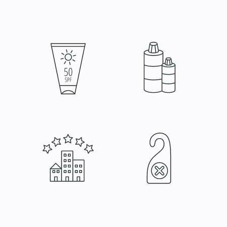 Hotel, shampoo and sun cream icons. Do not disturb linear sign. Flat linear icons on white background. Vector Illustration