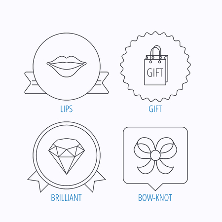 bowknot: Lips kiss, brilliant and gift icons. Bow-knot linear sign. Award medal, star label and speech bubble designs. Vector Illustration