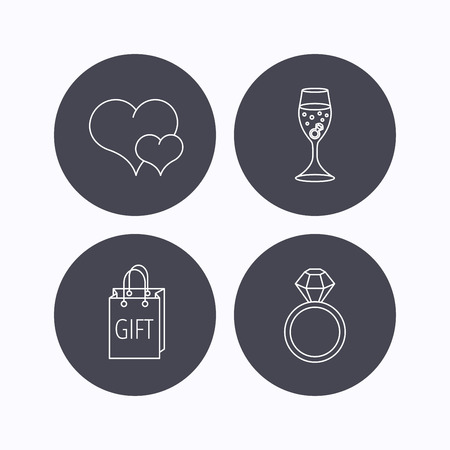 shopping champagne: Love heart, gift bag and wedding ring icons. Engagement linear sign. Flat icons in circle buttons on white background. Vector Illustration