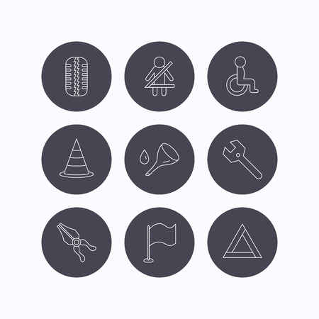 triangle flag: Tire tread, traffic cone and wrench key icons. Emergency triangle, flag and pliers linear signs. Disabled person icons. Flat icons in circle buttons on white background. Vector