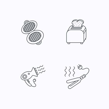 hairdryer: Curling iron, hair-dryer and toaster icons. Waffle-iron linear sign. Flat linear icons on white background. Vector