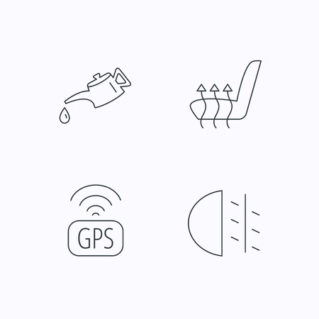 heated: Motor oil, passing fog lights and gps icons. Heated seats linear sign. Flat linear icons on white background. Vector Illustration