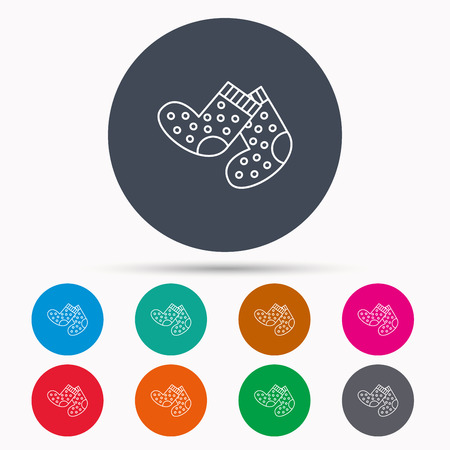 baby underwear: Socks icon. Baby underwear sign. Clothes symbol. Icons in colour circle buttons. Vector Illustration