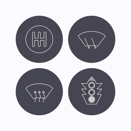 wiper: Traffic lights, manual gearbox and wiper icons. Heated window, manual transmission linear signs. Washing window icon. Flat icons in circle buttons on white background. Vector Illustration