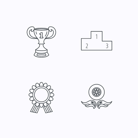 race winner: Winner cup, podium and award medal icons. Race symbol, wheel on fire linear signs. Flat linear icons on white background. Vector