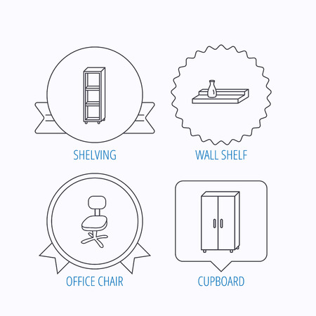shelving: Office chair, cupboard and shelving icons. Wall shelf linear sign. Award medal, star label and speech bubble designs. Vector