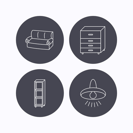 shelving: Sofa, ceiling lamp and shelving icons. Chest of drawers linear sign. Flat icons in circle buttons on white background. Vector