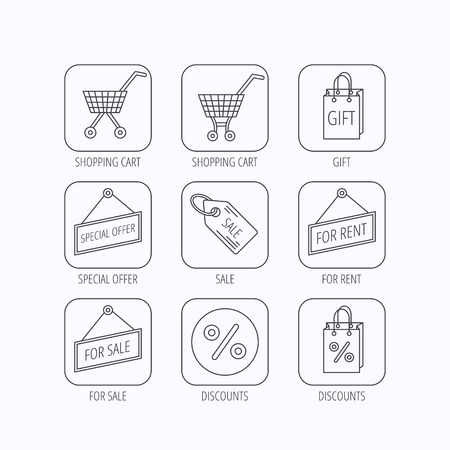 for rental: Shopping cart, gift bag and sale coupon icons. Special offer label linear signs. Discount icon. Flat linear icons in squares on white background. Vector