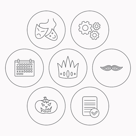 Crown Pumpkin And Theater Masks Icons Mustache Linear Sign