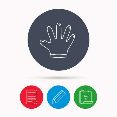 latex glove: Rubber gloves icon. Latex hand protection sign. Housework cleaning equipment symbol. Calendar, pencil or edit and document file signs. Vector