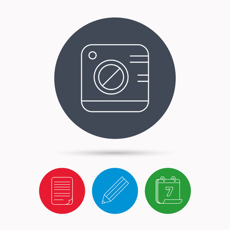 photo icon: Vintage photo camera icon. Photography sign. Professional equipment symbol. Calendar, pencil or edit and document file signs. Vector Illustration
