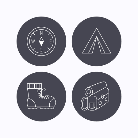 walking trail: Backpack, camping tent and compass icons. Boots linear sign. Flat icons in circle buttons on white background. Vector