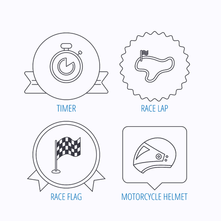 lap: Race flag, timer and motorcycle helmet icons. Race lap linear sign. Award medal, star label and speech bubble designs. Vector Illustration