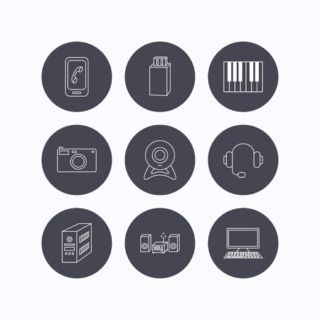 pc case: Photo camera, headphones and Usb flash icons. PC case, computer with monitor and web camera linear signs. Piano icons. Flat icons in circle buttons on white background. Vector