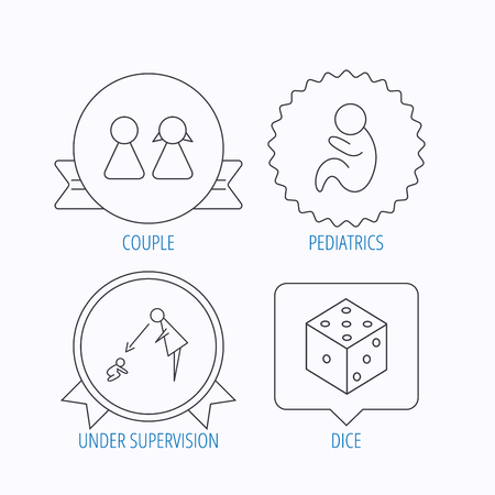 supervision: Couple, paediatrics and dice icons. Under supervision linear sign. Award medal, star label and speech bubble designs. Vector Illustration