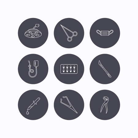 tweezers: Medical mask, capsules and dental pliers icons. Surgical lamp, scalpel and drop counter linear signs. Tweezers, pipette and forceps flat line icons. Flat icons in circle buttons on white background. Vector Illustration