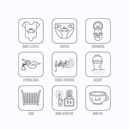 beach bucket: Diapers, newborn baby and clothes icons. Kids songs, beach bucket and bed linear signs. Video monitoring, wc flat line icons. Flat linear icons in squares on white background. Vector Illustration