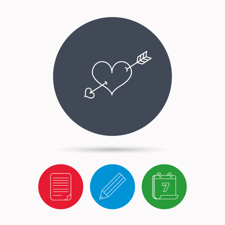 edit valentine: Love heart icon. Amour arrow sign. Calendar, pencil or edit and document file signs. Vector