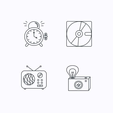 clock radio: Radio, retro camera and alarm clock icons. Hard disk linear sign. Flat linear icons on white background. Vector Illustration