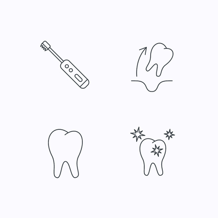 extraction: Tooth extraction, electric toothbrush icons. Healthy teeth linear sign. Flat linear icons on white background. Vector