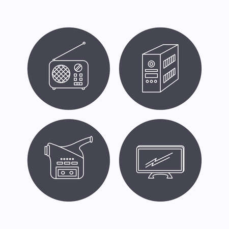 pc case: Radio, TV and video camera icons. PC case linear sign. Flat icons in circle buttons on white background. Vector Illustration