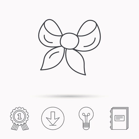 tied girl: Gift bow icon. Present decoration sign. Ribbon for packaging symbol. Download arrow, lamp, learn book and award medal icons.