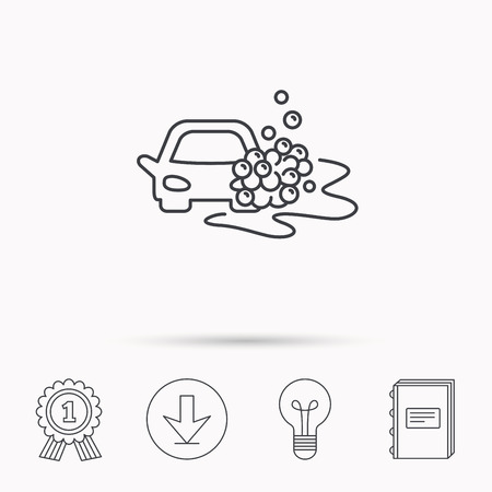 operated: Car wash icon. Cleaning station sign. Foam bubbles symbol. Download arrow, lamp, learn book and award medal icons.