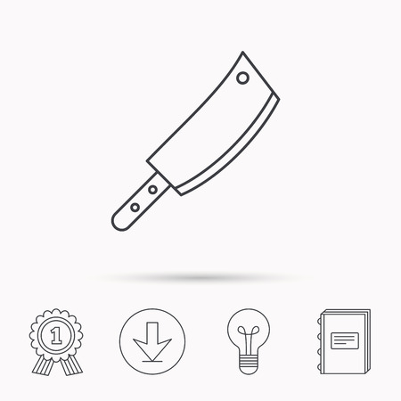 butcher knife: Butcher knife icon. Kitchen chef tool sign. Download arrow, lamp, learn book and award medal icons. Illustration