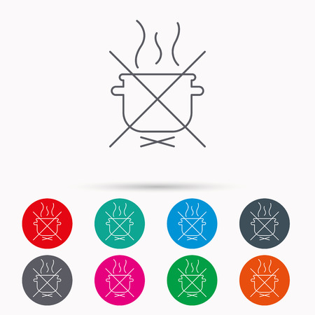 do cooking: Boiling saucepan icon. Do not boil water sign. Cooking manual attenction symbol. Linear icons in circles on white background.