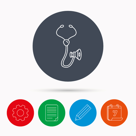 pulmology: Stethoscope icon. Medical doctor equipment sign. Pulmology symbol. Calendar, cogwheel, document file and pencil icons.