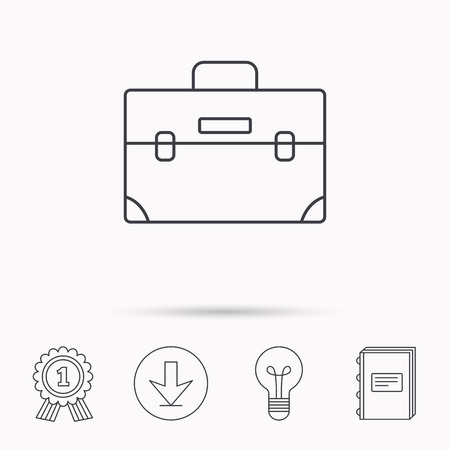 book case: Briefcase icon. Businessman case or diplomat sign. Hand baggage symbol. Download arrow, lamp, learn book and award medal icons.