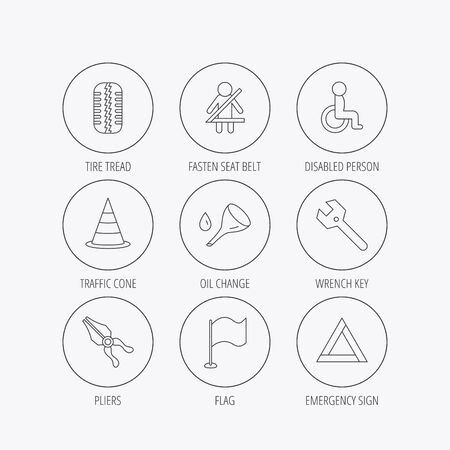 triangle flag: Tire tread, traffic cone and wrench key icons. Emergency triangle, flag and pliers linear signs. Disabled person icons. Linear colored in circle edge icons.