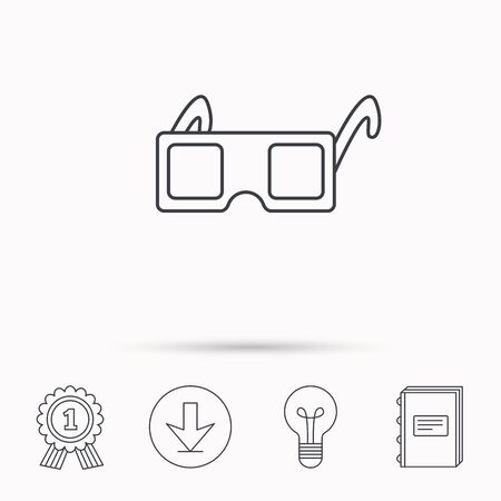 freetime: 3D glasses icon. Cinema technology sign. Vision effect symbol. Download arrow, lamp, learn book and award medal icons.