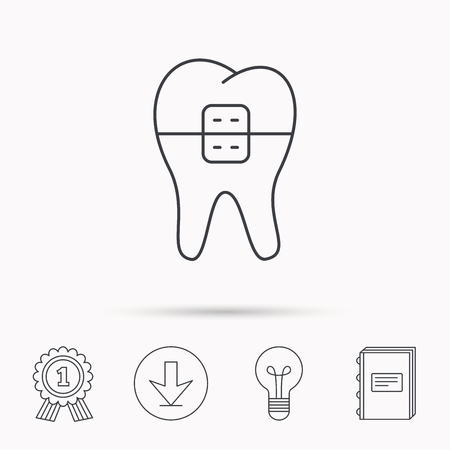 staples: Dental braces icon. Tooth healthcare sign. Orthodontic symbol. Download arrow, lamp, learn book and award medal icons.
