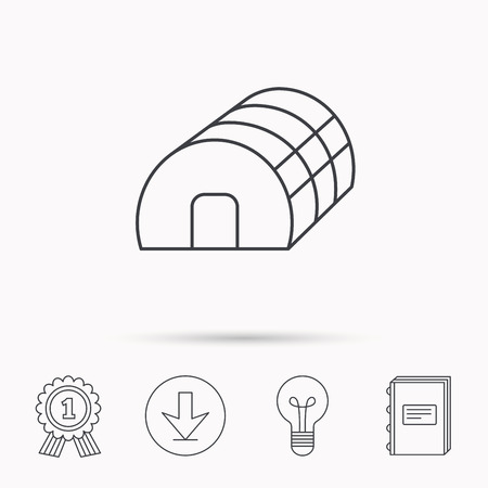 warm house: Greenhouse complex icon. Hothouse building sign. Warm house symbol. Download arrow, lamp, learn book and award medal icons. Illustration