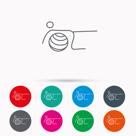 toning: Pilates fitness sign. Gymnastic ball icon. Sport workout symbol. Linear icons in circles on white background.