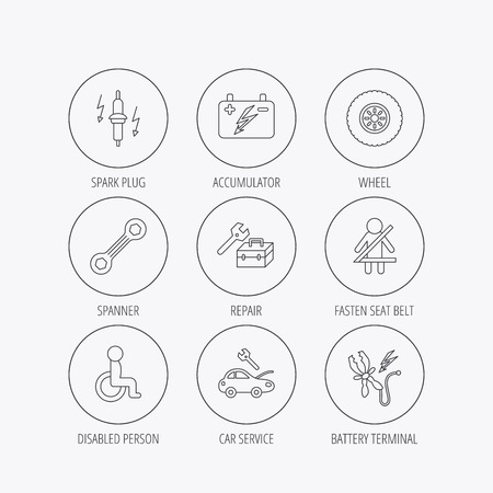 power wrench: Accumulator, spanner tool and car service icons. Repair toolbox, wheel and spark plug linear signs. Disabled person, battery terminal icons. Linear colored in circle edge icons.