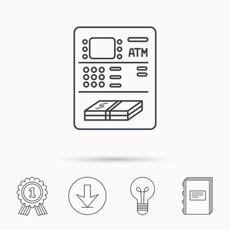 cash book: ATM icon. Automatic cash withdrawal sign. Download arrow, lamp, learn book and award medal icons. Illustration