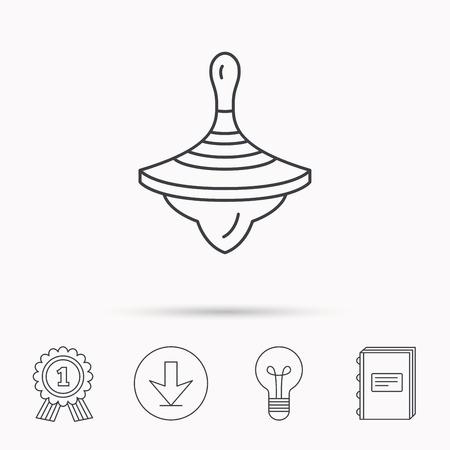 molinete: icono de la perinola. signo juguete del beb�. Peonza s�mbolo. Descarga flecha, l�mpara, aprender de libros y de concesi�n de medallas iconos.