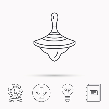 spinning: Whirligig icon. Baby toy sign. Spinning top symbol. Download arrow, lamp, learn book and award medal icons.