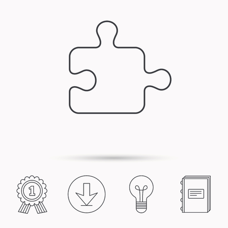 boardgames: Puzzle icon. Jigsaw logical game sign. Boardgame piece symbol. Download arrow, lamp, learn book and award medal icons. Illustration