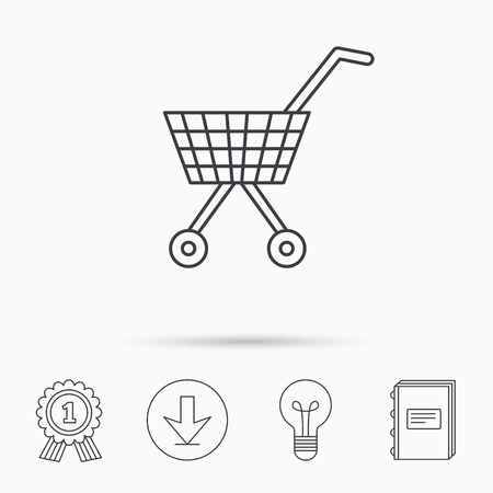 Shopping cart icon. Market buying sign. Download arrow, lamp, learn book and award medal icons.